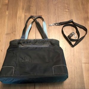 Coach Tote Bag, Black and Light Blue